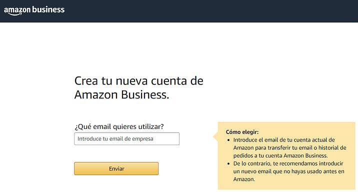 Amazon Business crear cuenta gratis